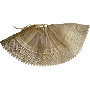 Hand stitched lace trimmed muslin petticoat