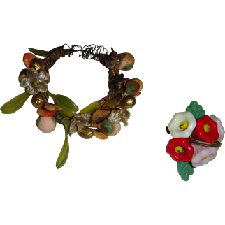 Delightful circlet  and glass posy for doll