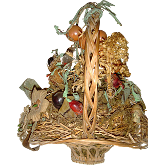 Antique basket of glass and silk flowers