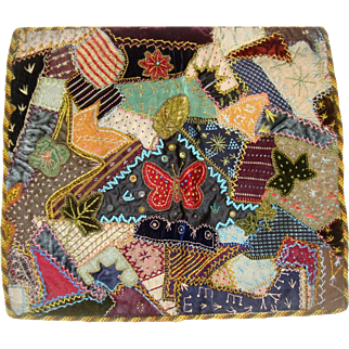 Stunning antique crazy patchwork with butterflies early fabric
