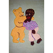Gorgeous appliqued cloth with golly and teddy