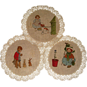 Delightful hand painted mats children and dogs