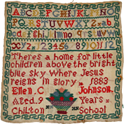 Very colorful sampler 1883 by Ellen C Johnson