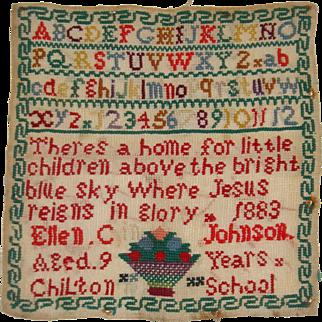 Very colorful sampler 1883 by Ellen C Johnson