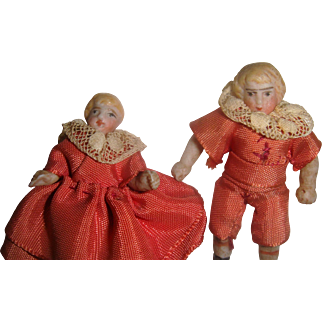Pair Hertwig dolls house dolls house children original clothes