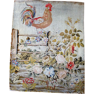Needlework picture of cockerel and flowers