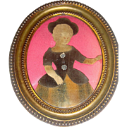 Small early velvet applique picture of child