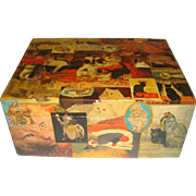 Superb old decoupage covered box with cats