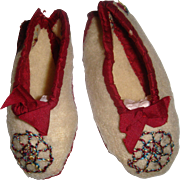 Delightful early felt and ribbon trim doll slippers
