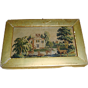 Miniature early petit point picture of deer