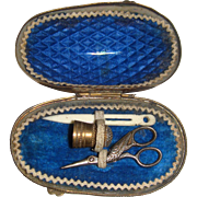 Miniature sewing etui in shell case