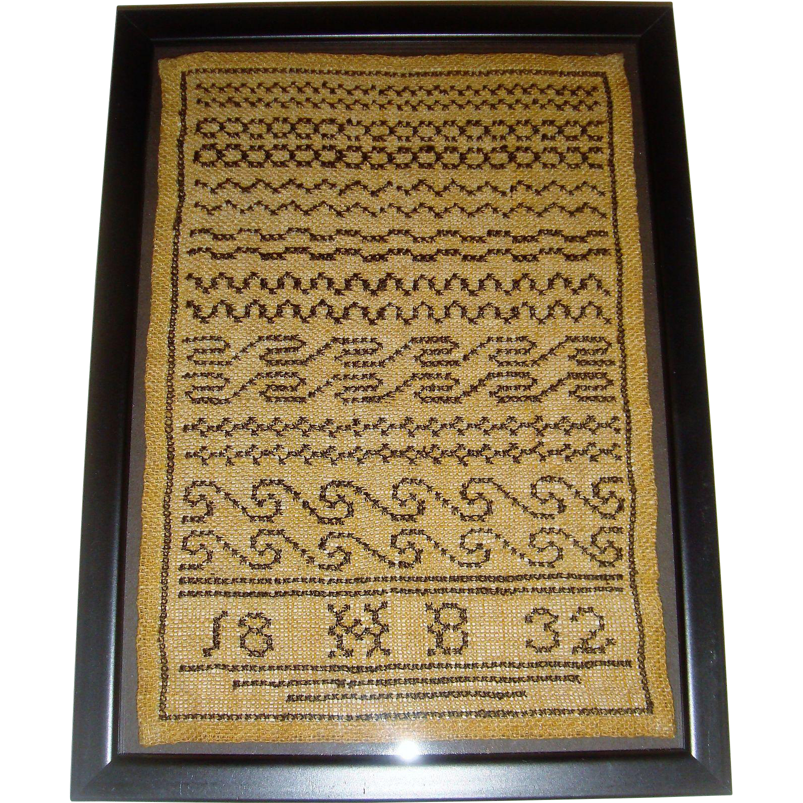 Small neatly worked sampler dated 1832