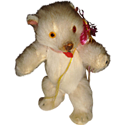 Adorable tiny white fur covered bear for doll