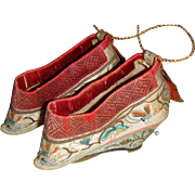Antique embroidered Chinese Lotus binding shoes