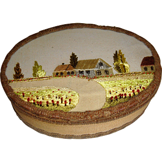 Beautiful glass topped oval box with hand embroidery