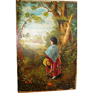 Charming oil painting of girl in a wood