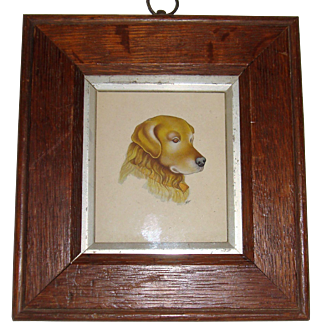 Miniature 19th century water color of dog