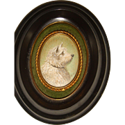 Miniature water color by Aubrey Claringbold of a terrier dog
