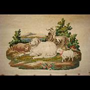 Mid 19th century needle work of sheep