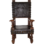 Miniature oak and leather chair for doll