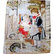 Large needle point with rabbits chenille dog and children