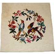 Needlepoint picture of birds and flowers