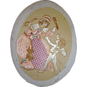 Silk embroidered picture of a cherub