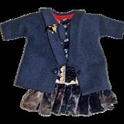 Velvet low waist dress and coat