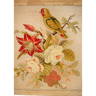 Large needle point picture parrot and flowers