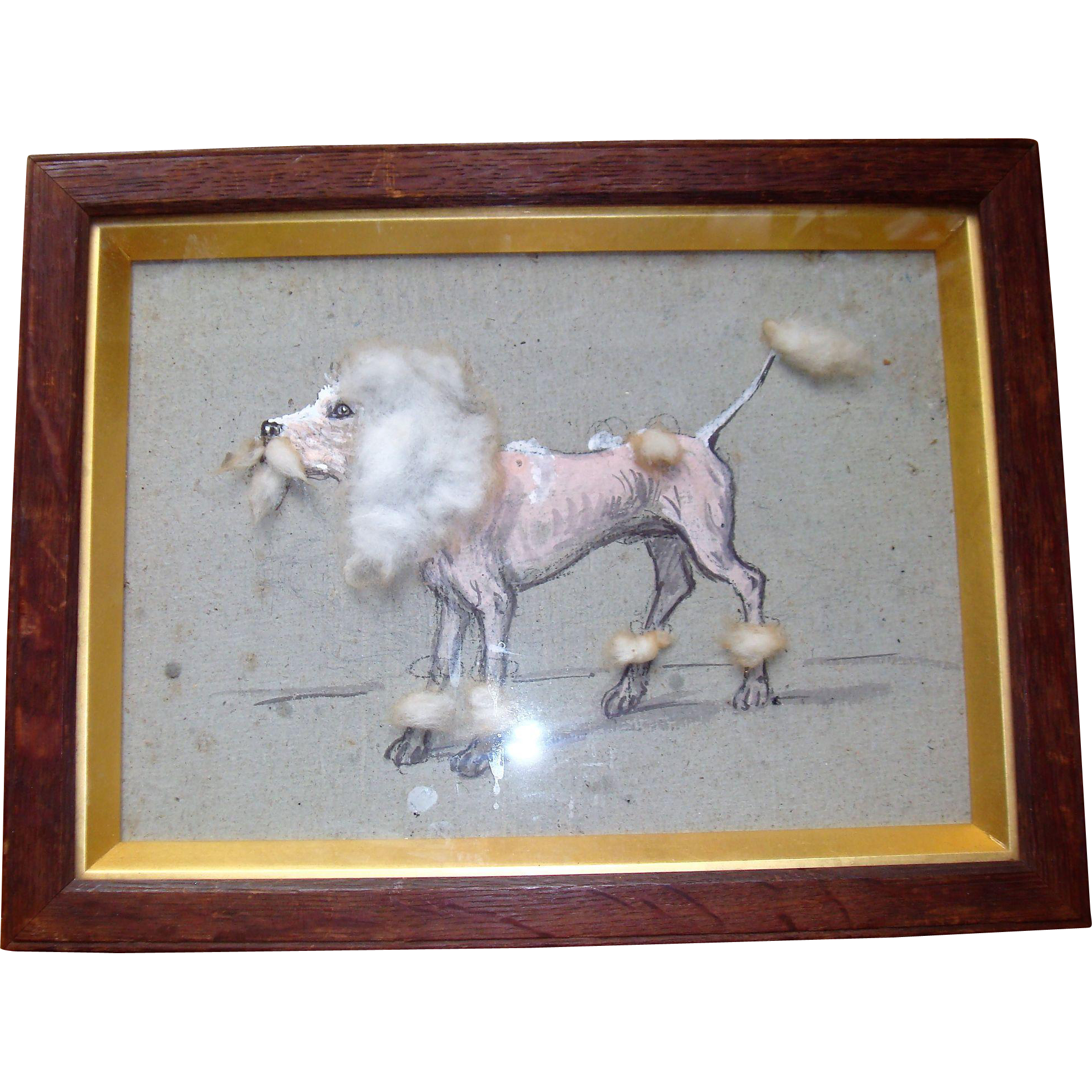 Unusual pastel picture of dog with wool trim