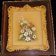 Superb signed oil of flowers in ormolu frame