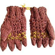Tiny pair hand knitted gloves for FF doll