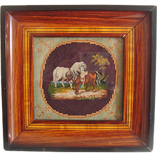Miniature needle point of horses