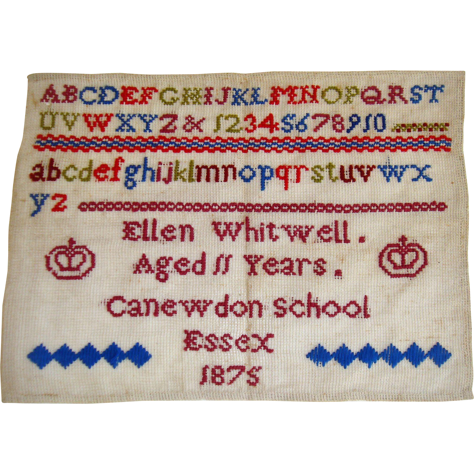 Colorful school sampler by Ellen Whitwell  1875