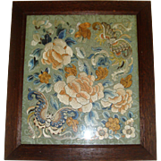 Chinese silk and gold thread work embroidered picture butterflies