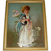 Oil painting on glass of  girl with kitten