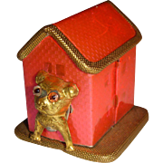 Pink dog kennel tape measure with dog
