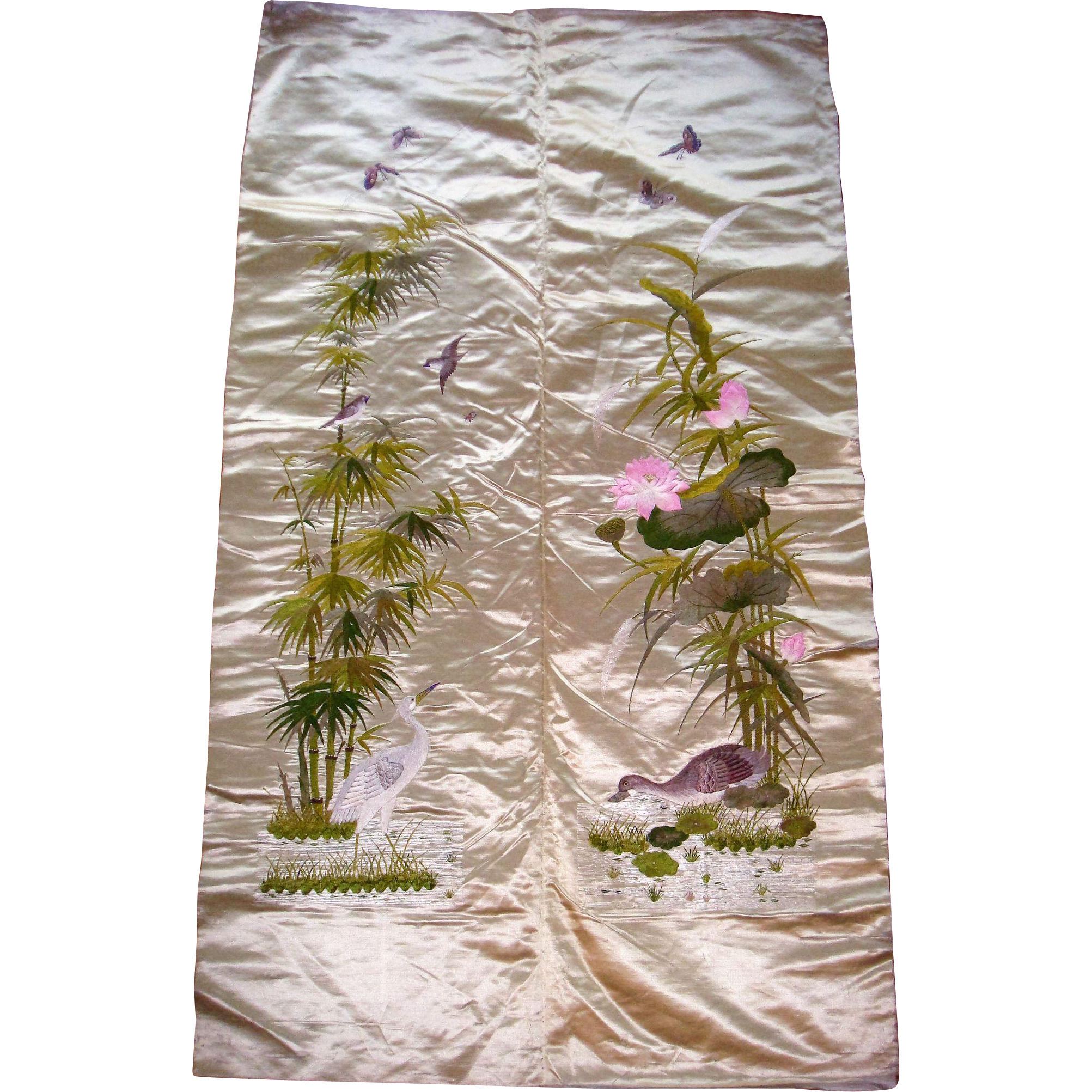 Chinese silk embroidered panel birds and flowers
