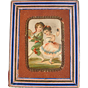 Old box with children for doll display