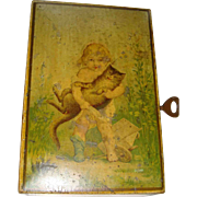 Victorian money box with cat and child