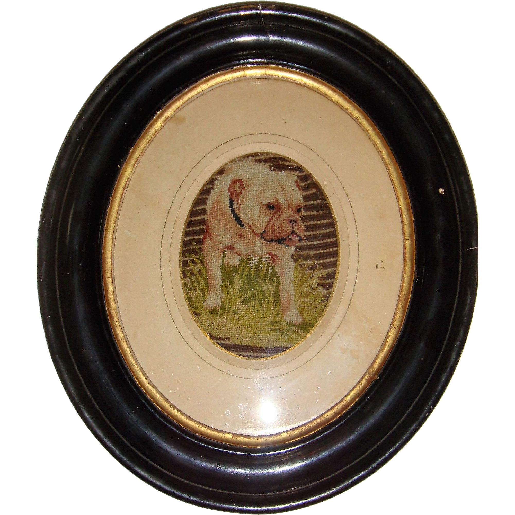 Victorian needlework of bull dog