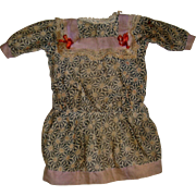 Hand made old  cotton print doll dress