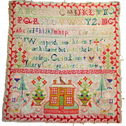 Large colorful sampler with house dated 1894
