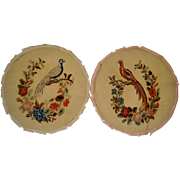 Pair circular needlework pictures of birds and flowers