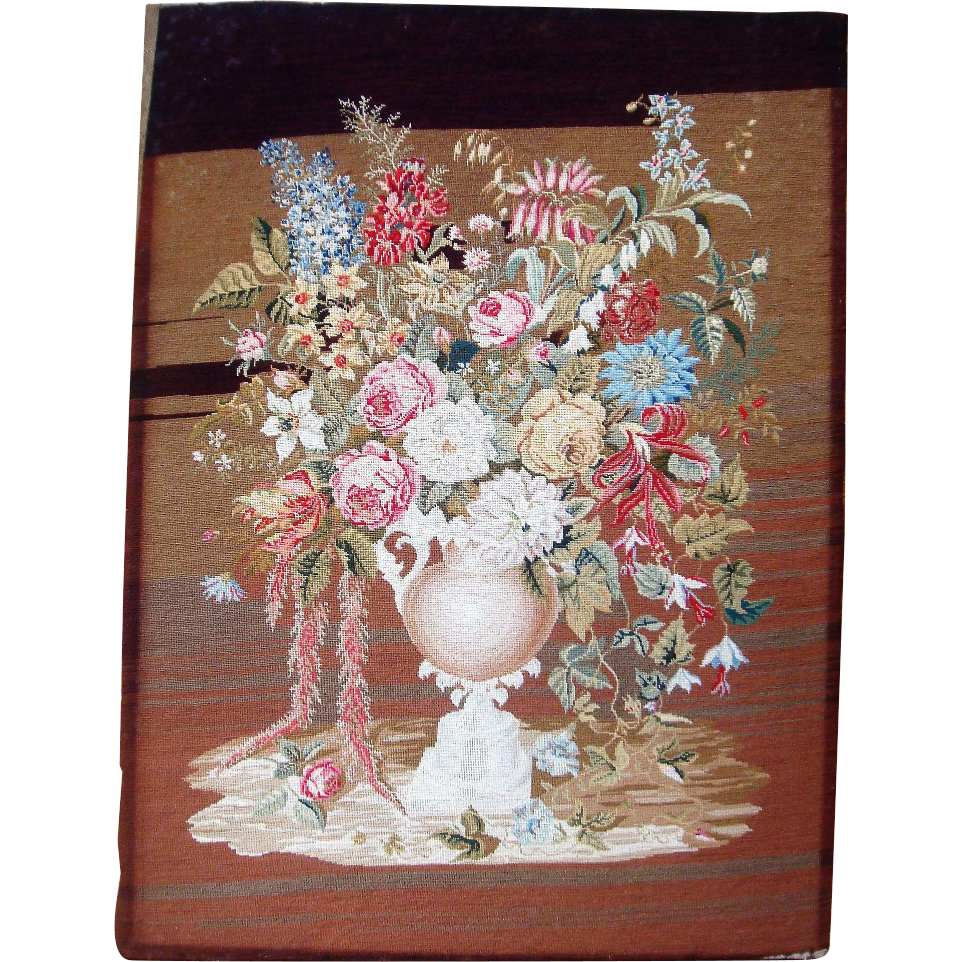 Fine needle point picture of flowers