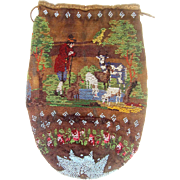 Late 18th century bead work bag with scenes