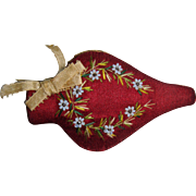 Pretty bead work and silk embroidered needle case
