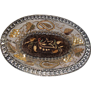 Decorative antique trinket tray with pearls