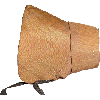 Early brown poke bonnet for wooden doll