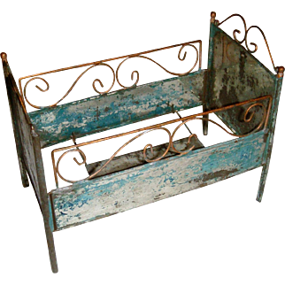 Early metal wire work doll bed
